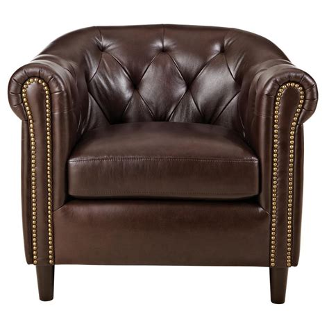 Warin Chocolate Leather Club Chair - The Home Depot.