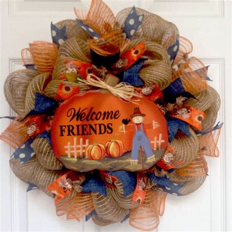 Welcome Friends Autumn Deco Mesh Wreath 20 Inch.