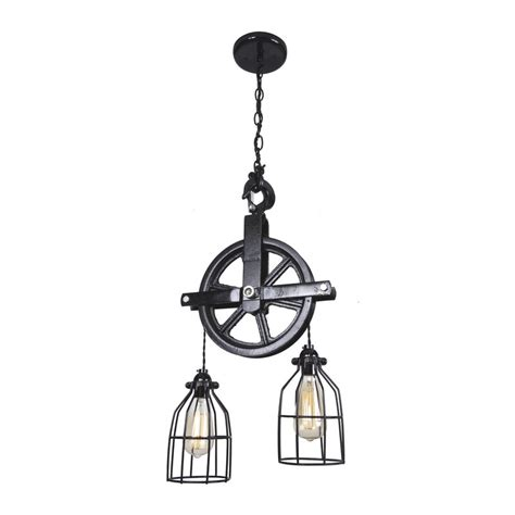 West Ninth Vintage Barn Pulley 2-Light Cascade Pendant .
