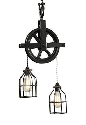 West Ninth Vintage Iron Barn Pulley Light  Black