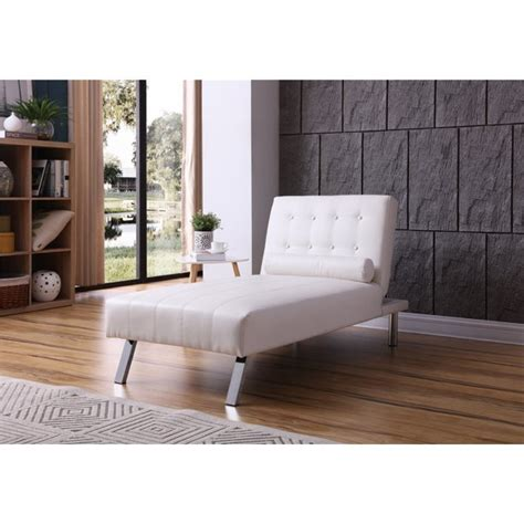 White Button Tufted Back Convertible Chaise Lounger With .