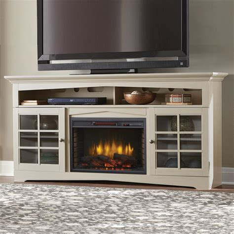 White Media Consoles With Electric Fireplace