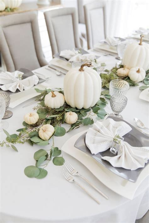 White Tablescape For Thanksgiving