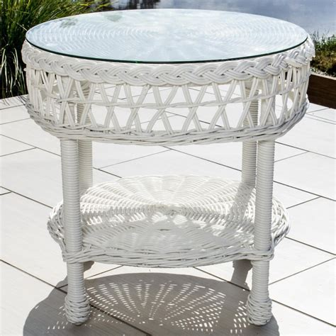 White Wicker Patio End Tables