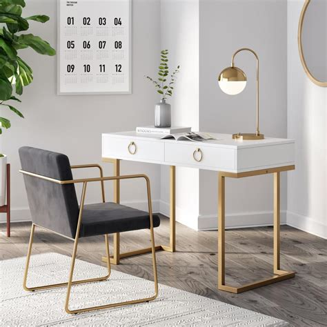 White Writing Desk With Gold Accents