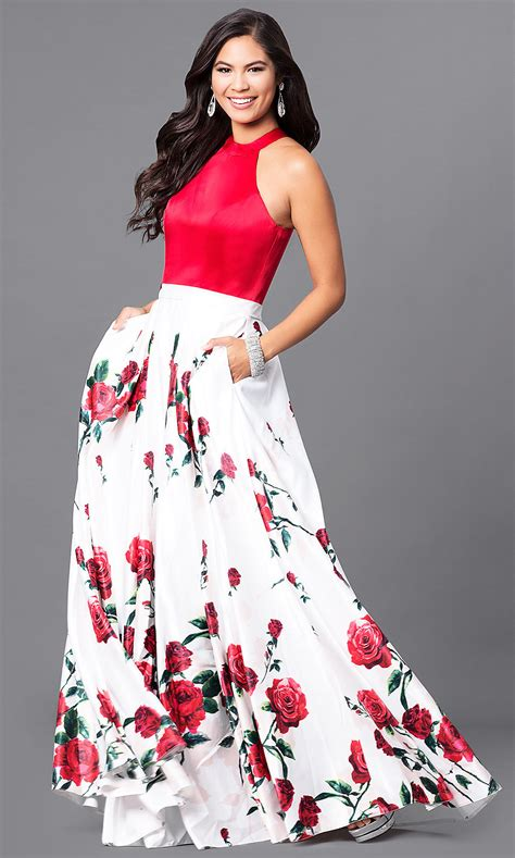 White Red Floral Prom