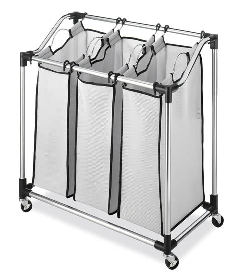 Whitmor Chrome Laundry Sorter With Foam Mesh Bags.