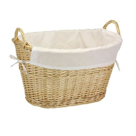 Willow Laundry Basket With Lining And Handles Natural.