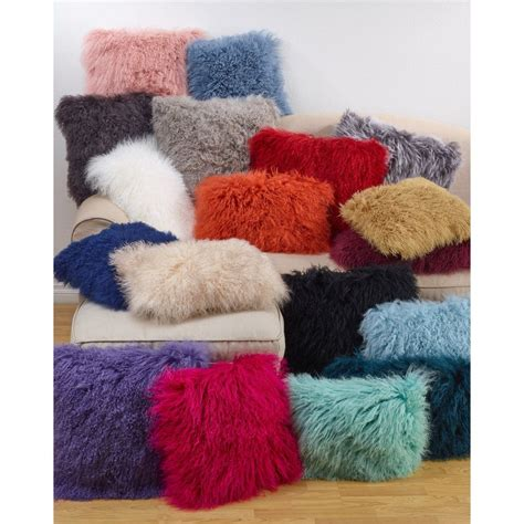 Wool Mongolian Lamb Fur Decorative Throw Pillow In 2019 .