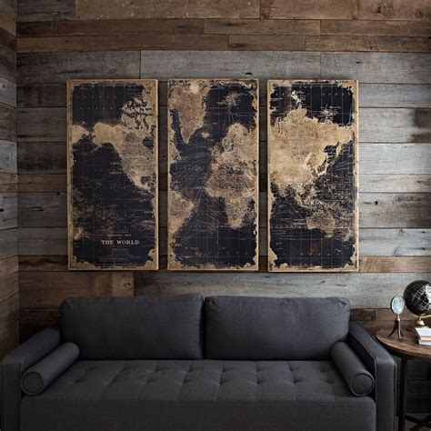World Map Wooden Plaque Set Of 3  Kirklands.