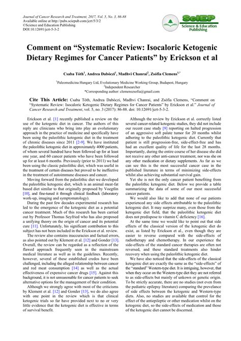 Ystematic Review Isocaloric Ketogenic Dietary Regimes For Cancer Patients