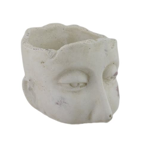 Zeckos Weathered Finish Small Sculptural Cement Head .