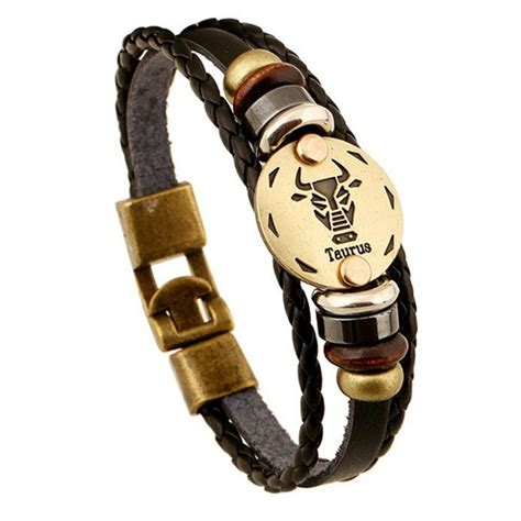 Zodiac Sign Gallstone Leather Bracelet – Ashley Jewels.