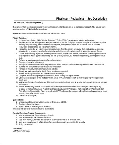 a sample resume for a pediatrician pediatrician job description health care salary online - Pediatrician Description
