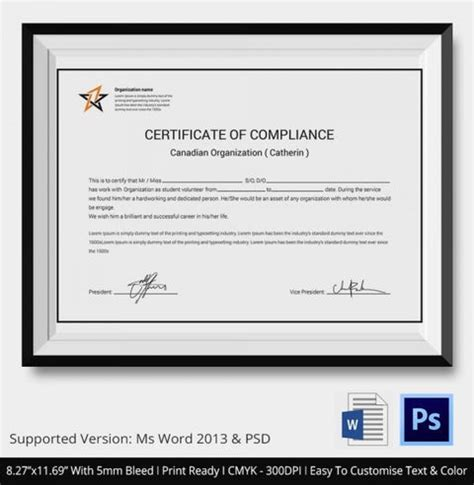 Certificate Of Compliance Template Word  BesikEightyCo