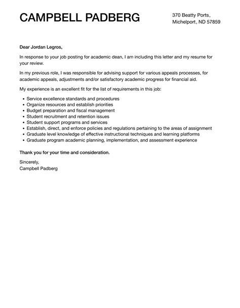 sample cover letter for academic advisor