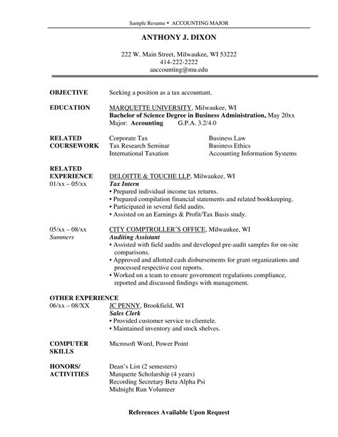 Accounting Graduate Resume Objective Sample Accounting Resume And Tips
