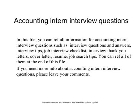 Accounting Internship Phone Interview Questions Interview Questions For Accounting Internship Bsr