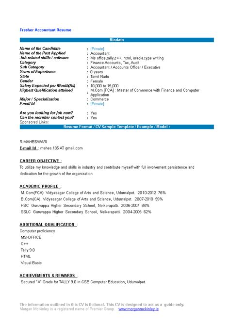 Accounting Resume Samples For Freshers 8 Freshers Resume Samples Examples Download Now