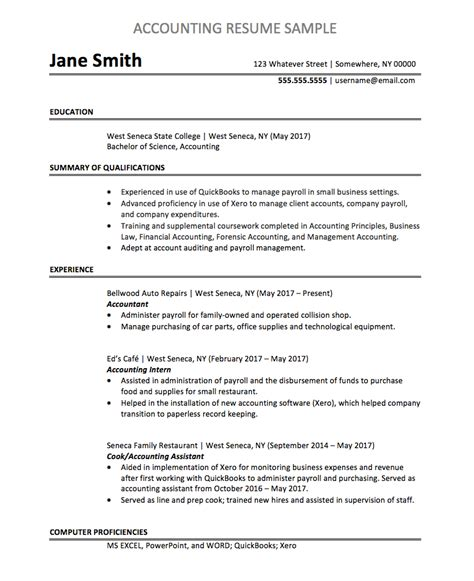 Accounting Resume Quickbooks Accounting Resume Sample Monster