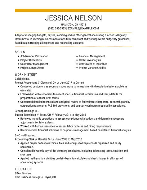 Accounting Resume Qualifications Samples Resume Samples Bellevue University