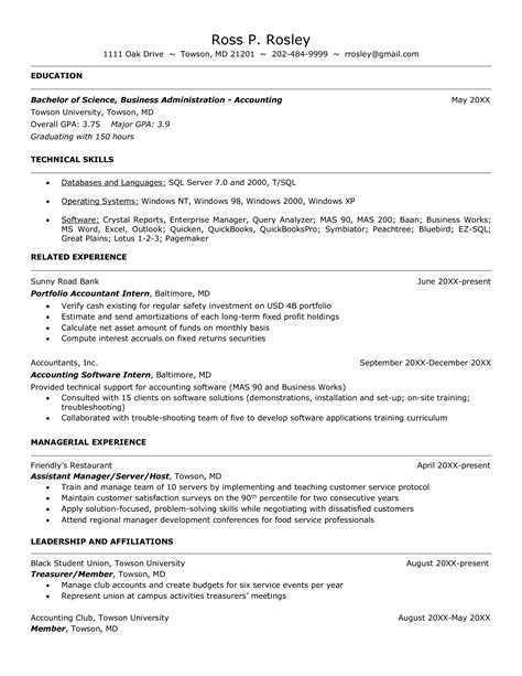 Accounting Resume Examples No Experience Resume Samples Free Sample Resume Examples