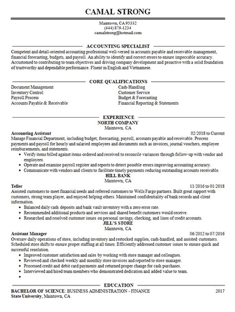 accounting specialist resume template how to write up your resume