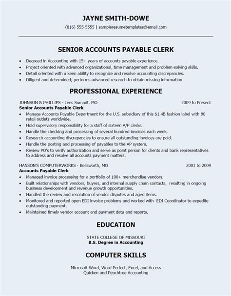 Resume For Account Receivable Clerk