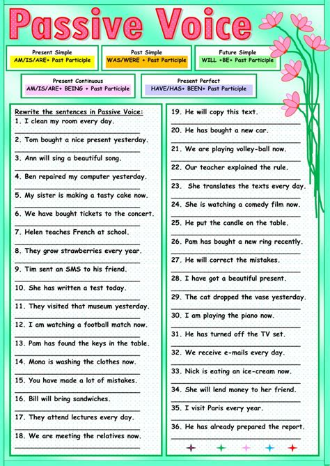 active and passive voice exercises worksheets pdf