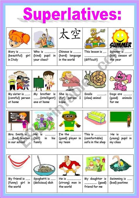activities for superlative and comparative adjectives