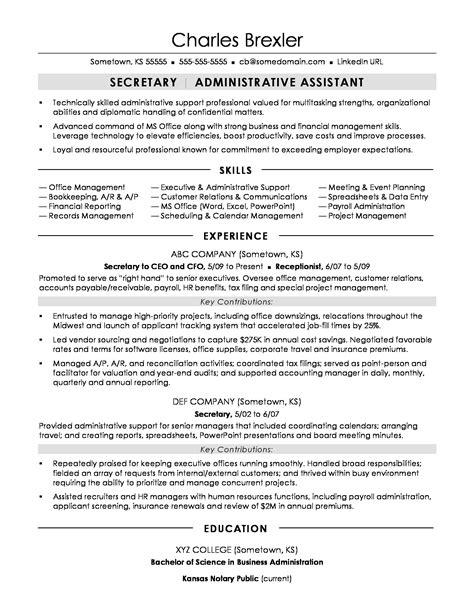 additional skills for secretary resume secretary resume example sample