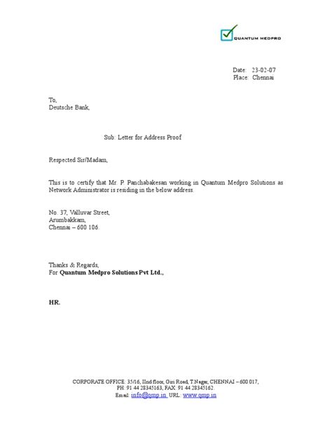 address proof letter format for bank loan sample letter format to bank for opening new saving