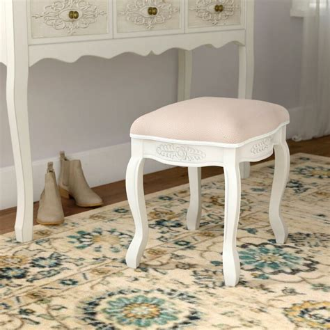 Adelinna Hand Carved Antique White Vanity Stool
