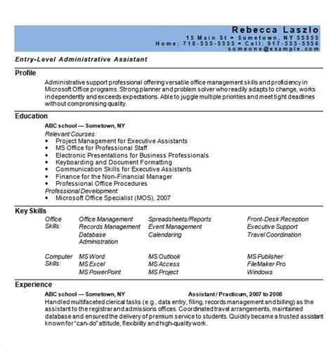 Administrative Assistant Resume Word Template Microsoft Word Resume Template 99 Free Samples
