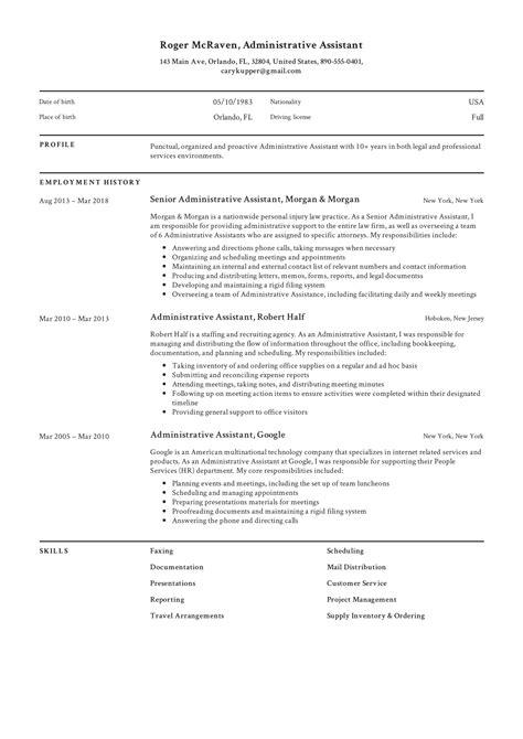resume holder administrative assistant resume for better job opportunities