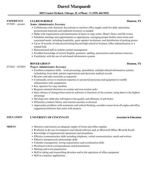 sample curriculum vitae for executive secretary administrative secretary resume samples jobhero