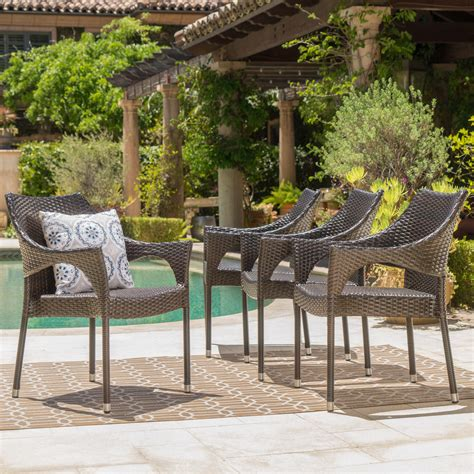 Adrian Stacking Patio Dining Chair (Set of 4)