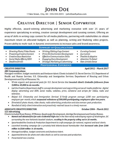 resume examples for creative director advertising creative director resume example - Creative Director Resume Sample