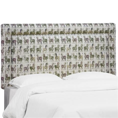 Aidy Lion Block Border Upholstered Panel Headboard