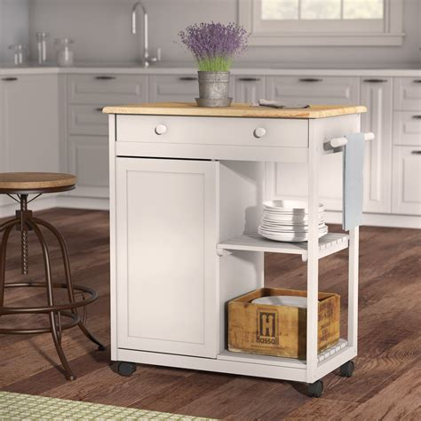 Allie Kitchen Cart with Wood Top