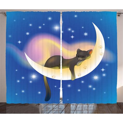Alyssa Cat Sleeping on Crescent Moon Graphic Print & Text Semi-Sheer Rod Pocket Curtain Panels (Set of 2 by