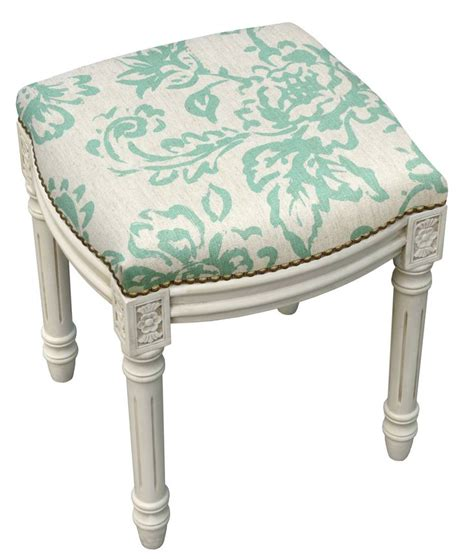 Amalda Toile Linen Upholstered Vanity Stool with Nailhead