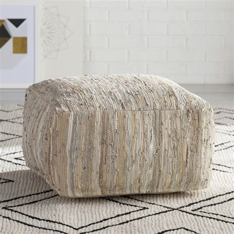 Anthracite Leather Pouf