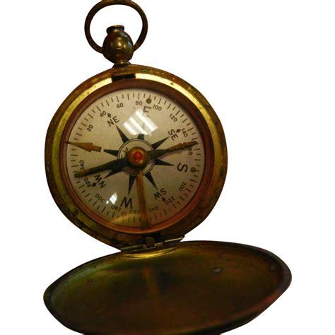 Brass Antique Brass Pocket Compass.