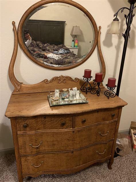 Antique Wood Dresser With Mirror