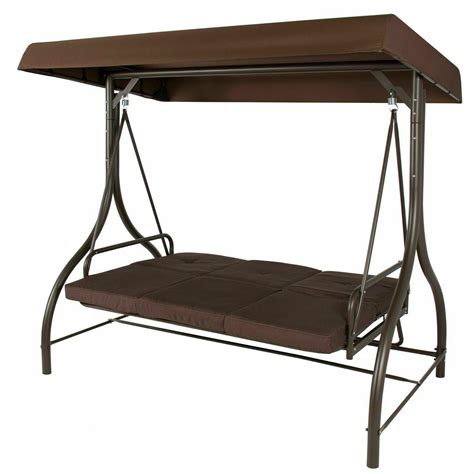 aosom 3 person metal convertible patio swing bed