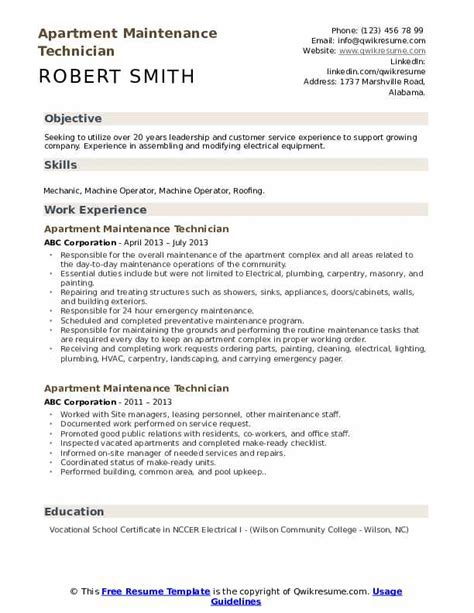 sample resume for maintenance technician