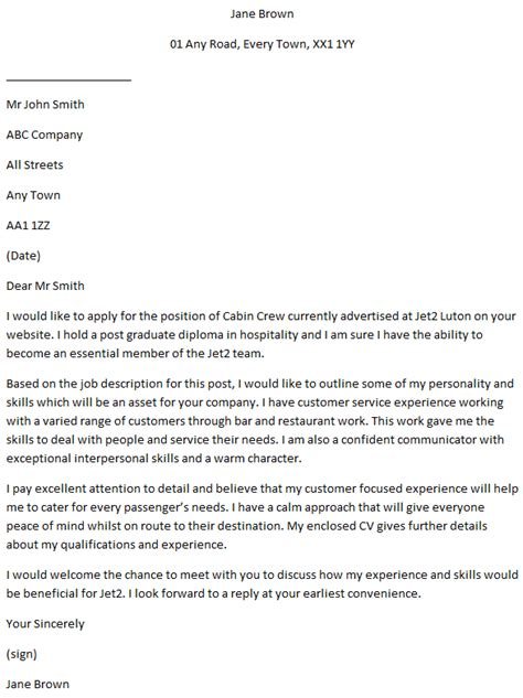 cabin crew cover letters - Cover Letter For Cabin Crew
