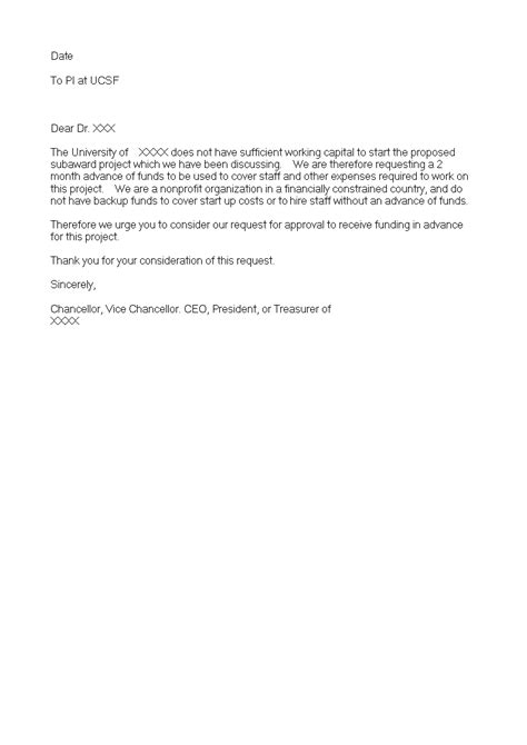 Application Letter Urgently Required Advance Payment Letter Format Semiofficecom