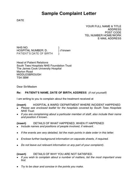 Application Letter Sample For Nurses Medical Service Complaint Letter Sample Letters